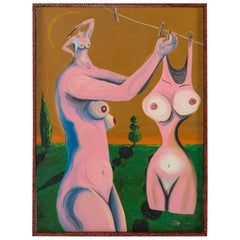 """Neraldo de la Paz Pink Abstract Nude Oil on Canvas """"All Washed Up"""""""