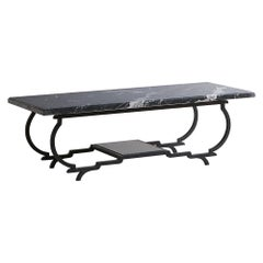 Nero Marquina Marble and Iron Frame Coffee Table