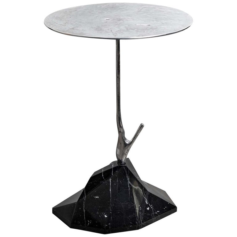 Nero Marquinia Marble Scultura Side Table For Sale