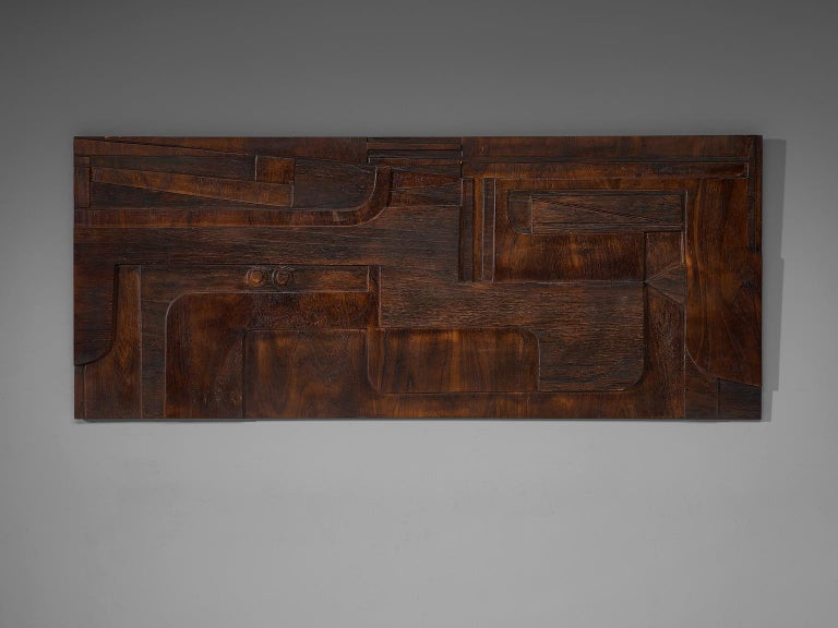 Nerone and Patuzzi for Gruppo NP2, sculptural wall-mounted art work, wood, Italy, 1970's.