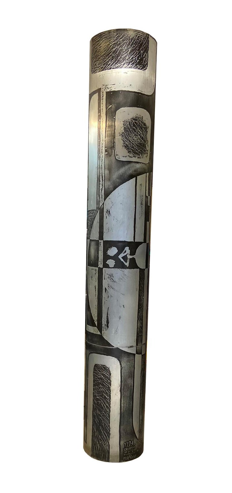 Nerone and Patuzzi, NP2 model, large column-shaped zinc engraving Signed: Gruppo NP.2, Turin 1974 Nero, NP2 production, circa 1974, Italy. Measures: Height 2.38 m, diameter 44 cm. Giovanni