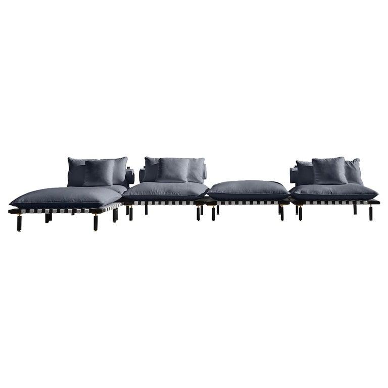 Nerthus, Teak and Hemp Indoor-Outdoor Sofa by ATRA For Sale