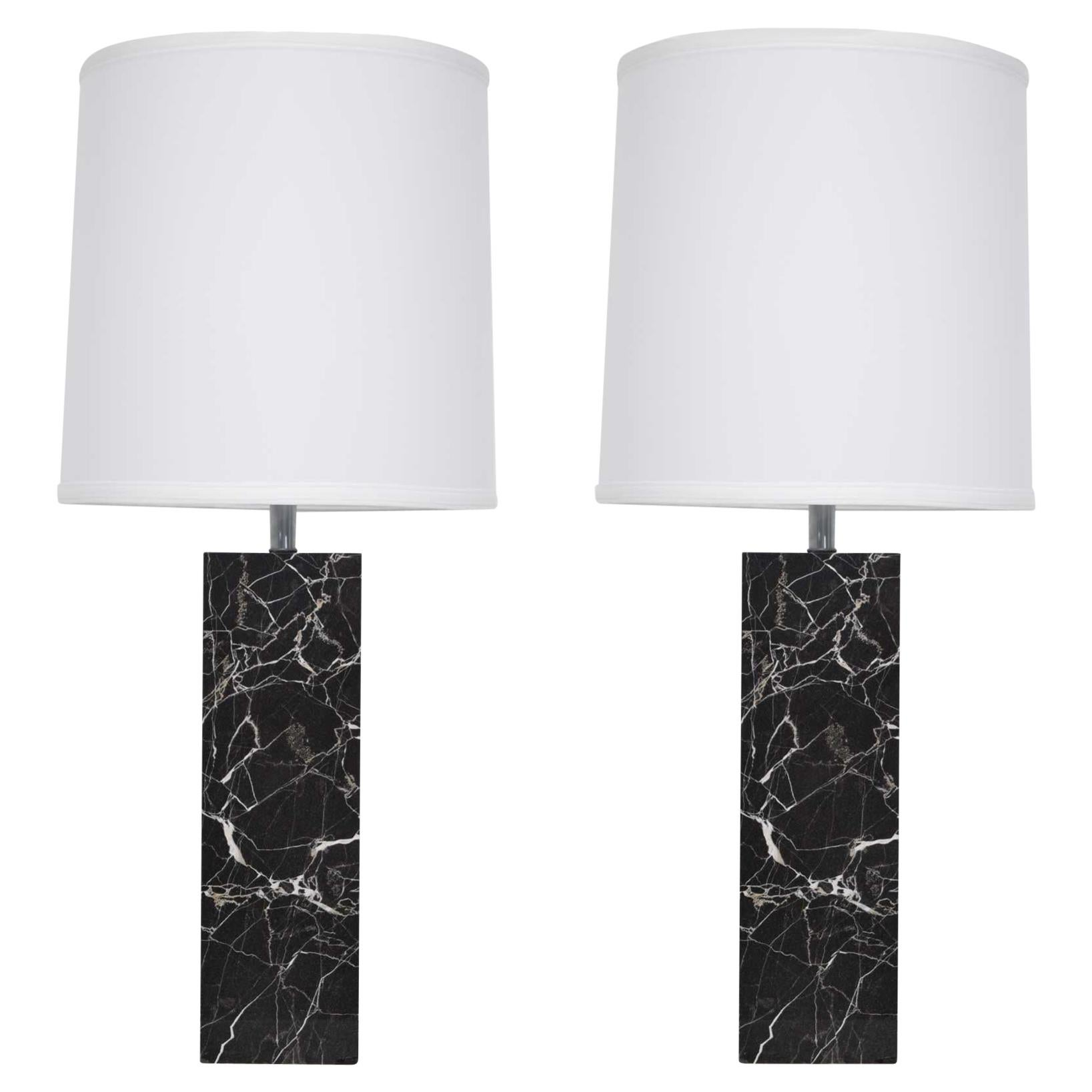 Nessen Studio Marble Table Lamps in Black Marble