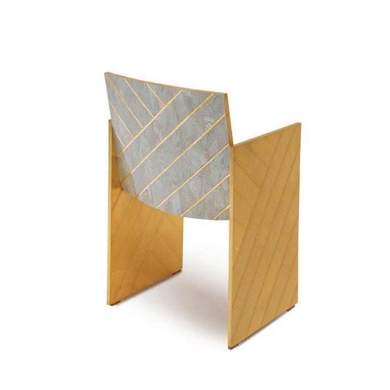 Modern Nesso Dining Chair with Brass and Pearly Inlay in Gray Finish by Matteo Cibic For Sale