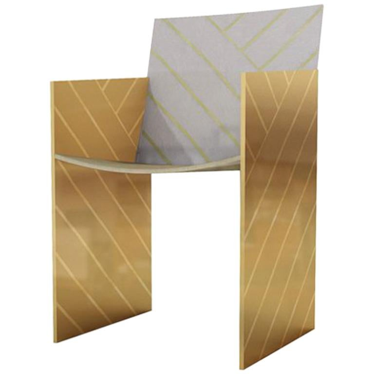 Nesso Dining Chair with Brass and Pearly Inlay in Gray Finish by Matteo Cibic For Sale