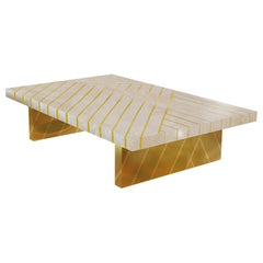 Nesso Beige and Pink Large Coffee Table with Brass Inlay by Matteo Cibic
