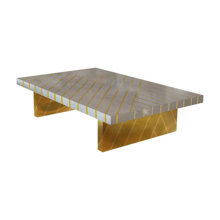 Nesso Gray Large Coffee Table with Brass Inlay by Matteo Cibic