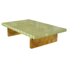 Nesso Mint Green Large Coffee Table with Brass Inlay by Matteo Cibic