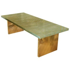 Nesso Mint Green Large Dining Table with Brass Inlayby Matteo Cibic