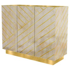 Nesso Beige and Pink Large Sideboard with Brass Inlay by Matteo Cibic