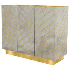 Nesso Gray Large Sideboard with Brass Inlay by Matteo Cibic