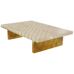 Nesso Beige and Pink Medium Coffee Table with Brass Inlay by Matteo Cibic