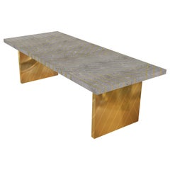 Nesso Gray Medium Dining Table with Brass Inlay by Matteo Cibic