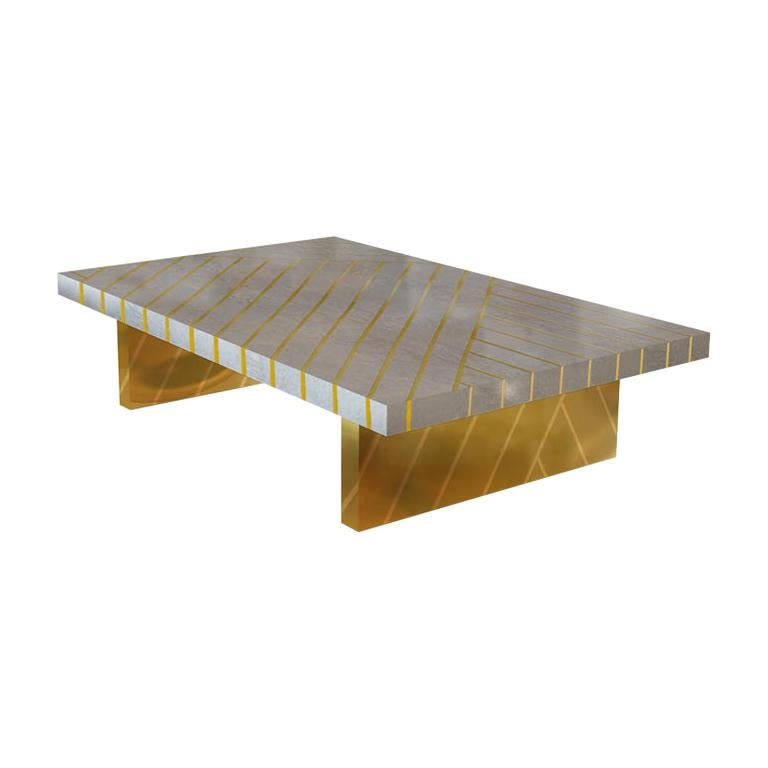Nesso Gray Small Coffee Table with Brass Inlayby Matteo Cibic