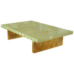 Nesso Mint Green Small Coffee Table with Brass Inlay by Matteo Cibic