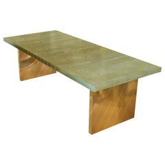 Nesso Mint Green Small Dining Table with Brass Inlay by Matteo Cibic