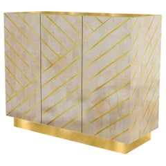 Nesso Beige and PinkSmall Sideboard with Brass Inlay by Matteo Cibic
