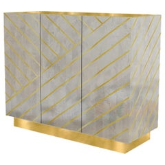 Nesso Gray Small Sideboard with Brass Inlay by Matteo Cibic