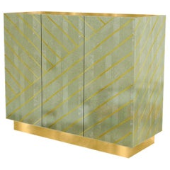 Nesso Mint Green Small Sideboard with Brass Inlay by Matteo Cibic
