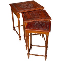 Nest 3 Sidetable Low Tables Leather Brown Mexican Vintage Aztec Embossed Spanish