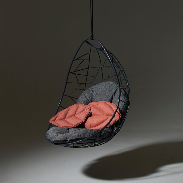 Nest Egg Hanging Swing Chair Steel Modern In/Outdoor 21st Century Black Twig For Sale 6
