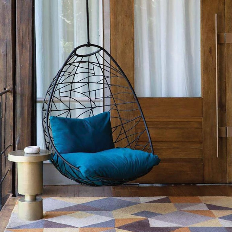 Nest Egg Hanging Swing Chair Steel Modern In/Outdoor 21st Century Black Twig For Sale 7