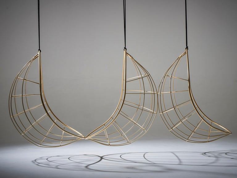 Nest Egg Hanging Swing Chair Steel Modern In/Outdoor 21st Century Black Twig For Sale 13