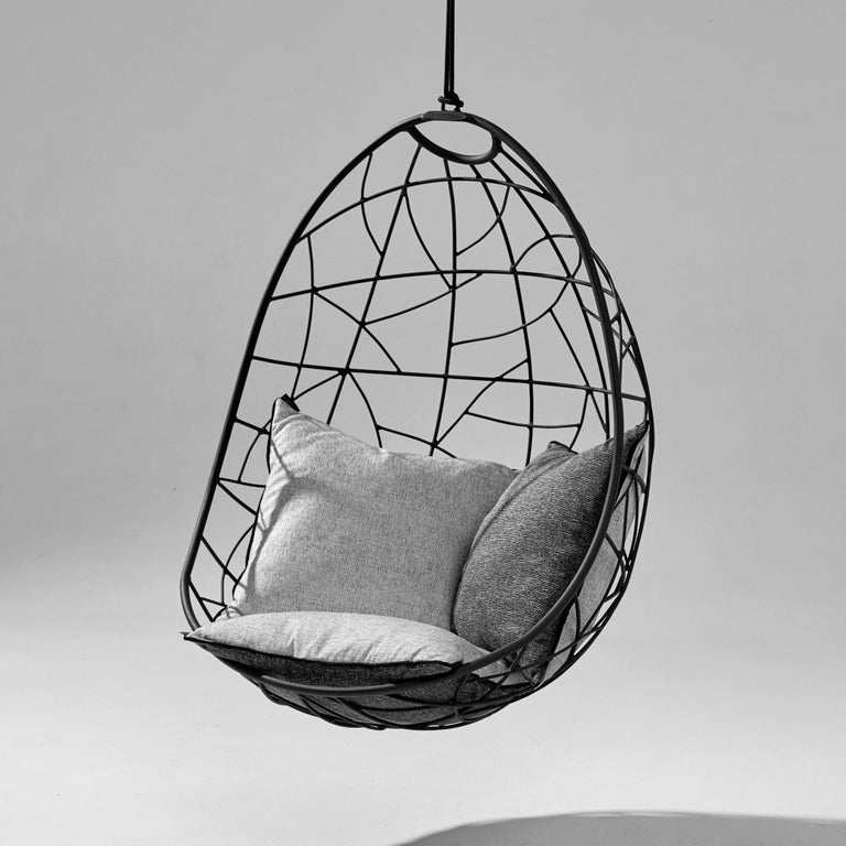 Nest Egg Hanging Swing Chair Steel Modern In/Outdoor 21st Century Black Twig For Sale 1