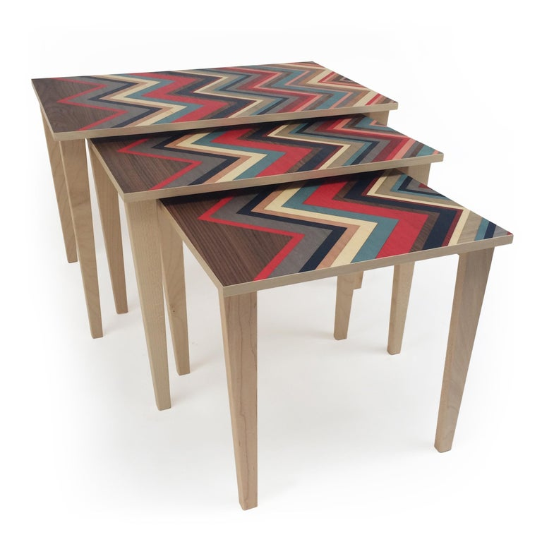 Contemporary Nest of 3 Tables on Maple Bases with Marquetry Tops For Sale