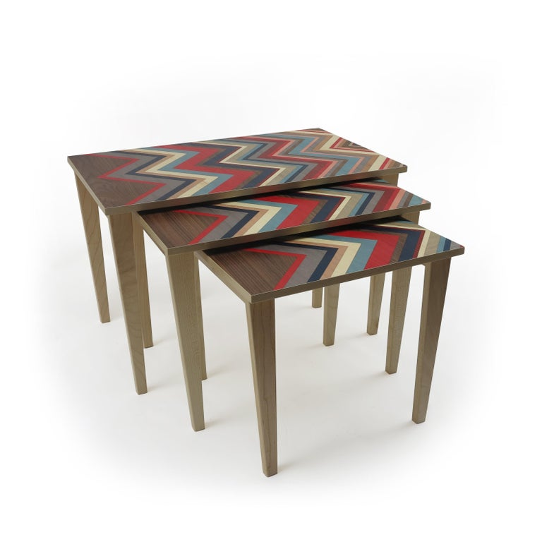 Wood Nest of 3 Tables on Maple Bases with Marquetry Tops For Sale