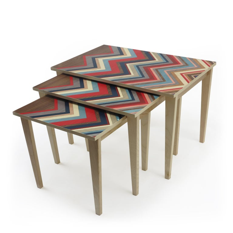 Nest of 3 Tables on Maple Bases with Marquetry Tops For Sale 2