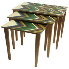 Nest of 3 Tables on Oak Bases with Marquetry Tops