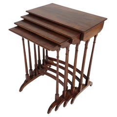 Nest of 4 Figured Mahogany English Side Tables