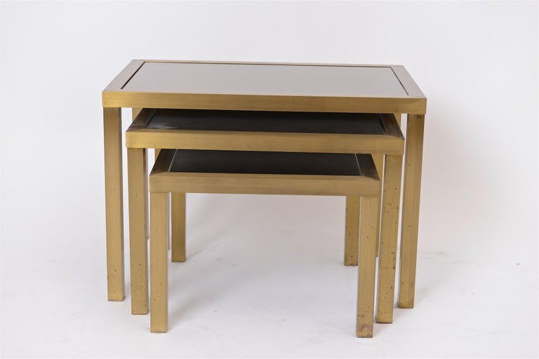 French Nest of Bronze and Brass Tables For Sale