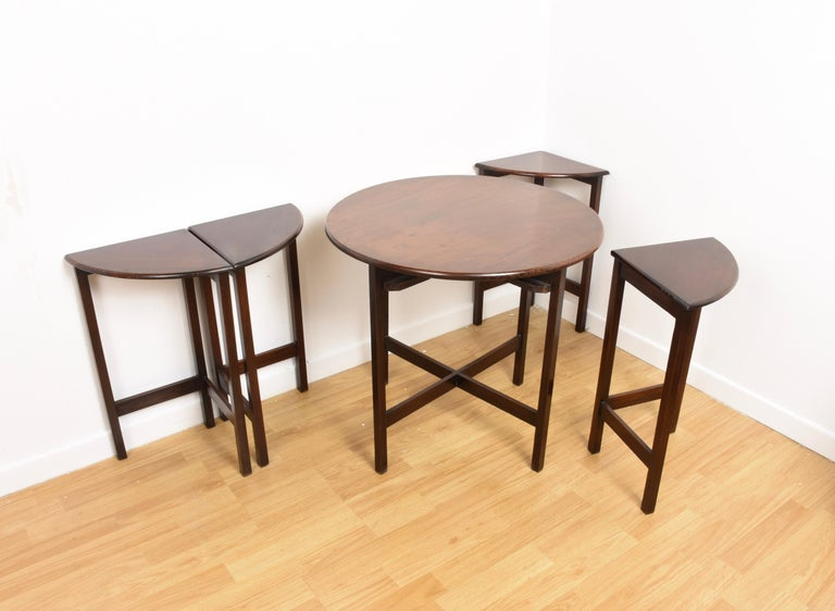 Nest of Five Vintage in Mahogany Tables, Italy, 1970s End Table 4