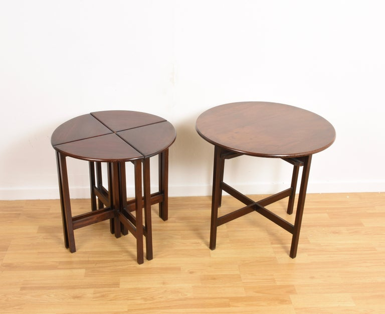 Nest of Five Vintage in Mahogany Tables, Italy, 1970s End Table 7