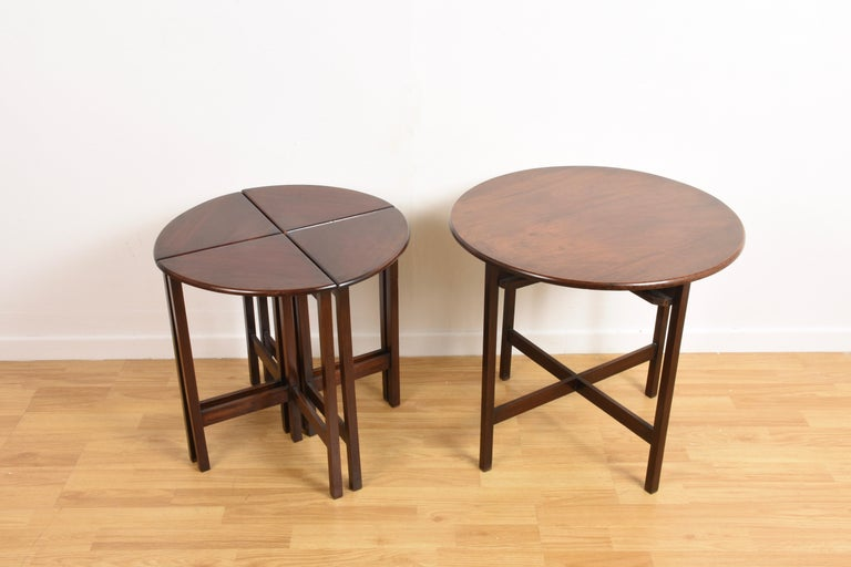 Nest of Five Vintage in Mahogany Tables, Italy, 1970s End Table 8