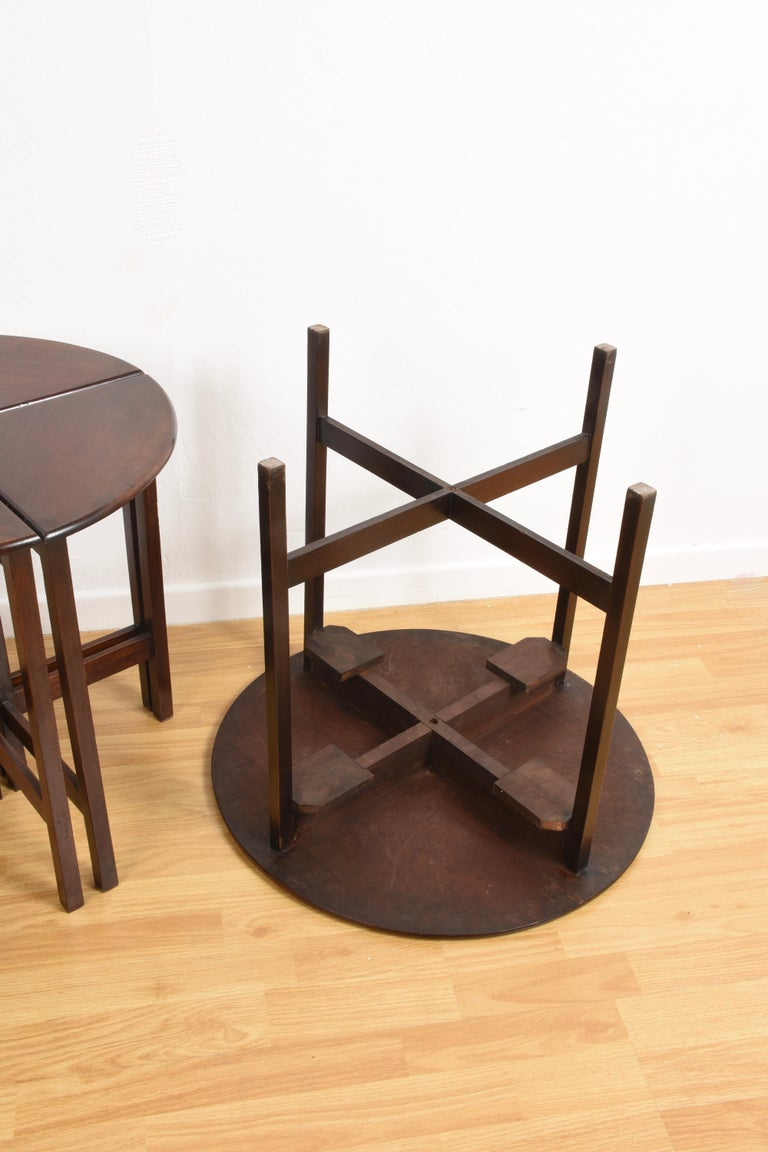 Nest of Five Vintage in Mahogany Tables, Italy, 1970s End Table 11