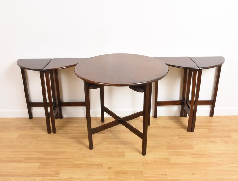 Nest of Five Vintage in Mahogany Tables, Italy, 1970s End Table 12