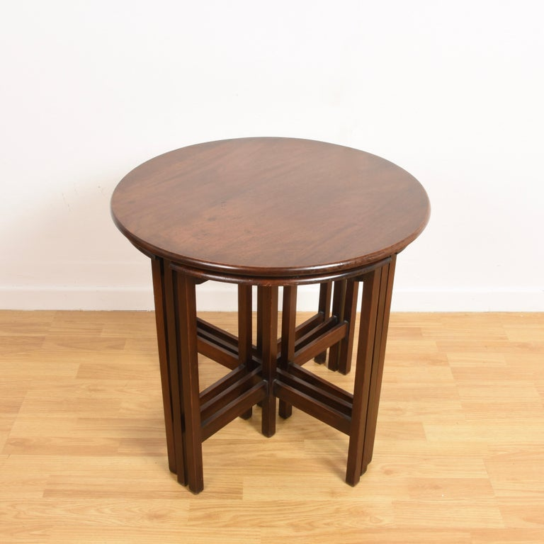 A stylish nest of 5 vintage mahogany tables dating from circa 1970s.