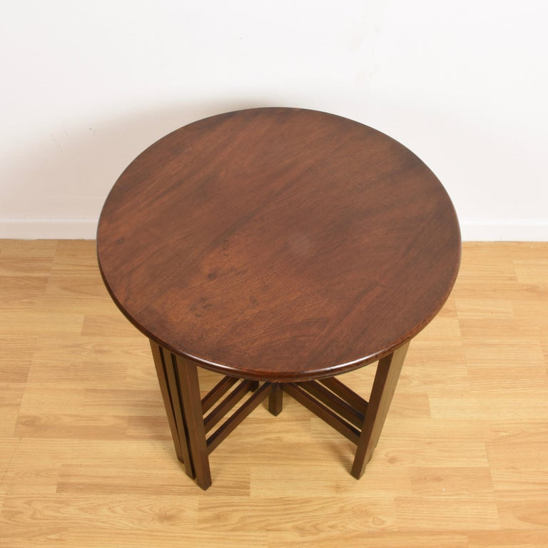 Mid-Century Modern Nest of Five Vintage in Mahogany Tables, Italy, 1970s End Table