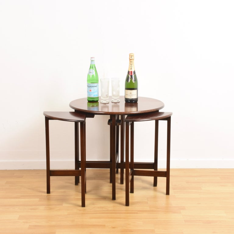 Italian Nest of Five Vintage in Mahogany Tables, Italy, 1970s End Table