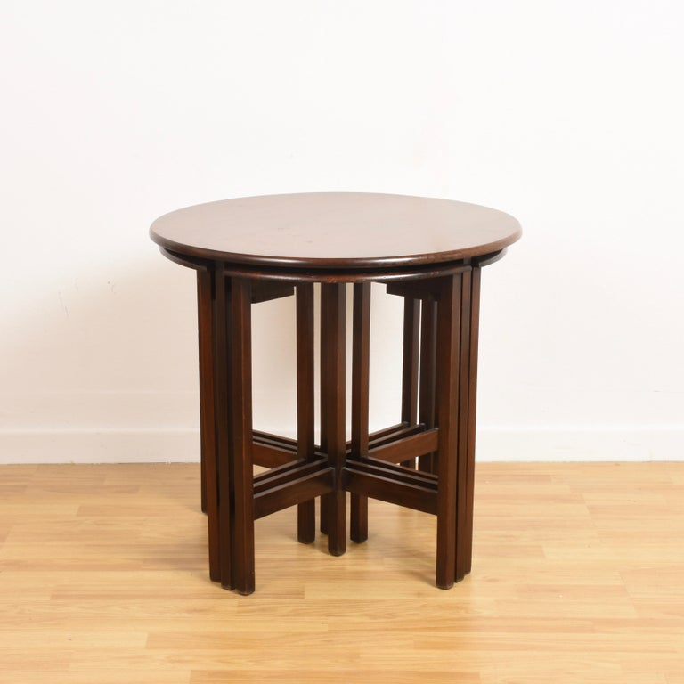 Nest of Five Vintage in Mahogany Tables, Italy, 1970s End Table In Good Condition In Roma, IT