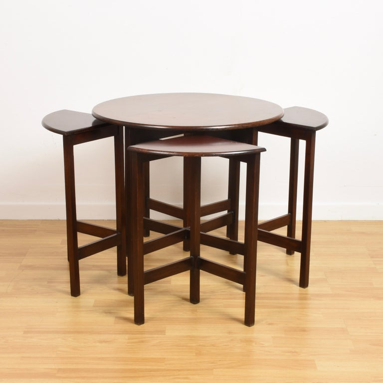 Late 20th Century Nest of Five Vintage in Mahogany Tables, Italy, 1970s End Table