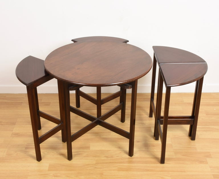 Nest of Five Vintage in Mahogany Tables, Italy, 1970s End Table 1