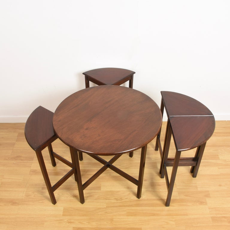 Nest of Five Vintage in Mahogany Tables, Italy, 1970s End Table 3
