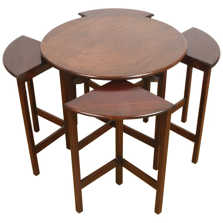 Nest of Five Vintage in Mahogany Tables, Italy, 1970s End Table