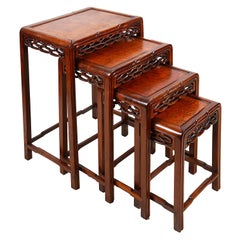 Nest of Four Chinese Hardwood Tables, 19th Century