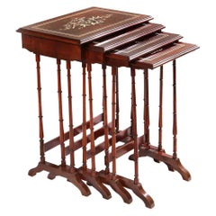 Nest of Four Plum Pudding Mahogany Tables
