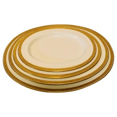 Nest of Four Spode Copeland Serving Platters With Gold Border and White Jeweling